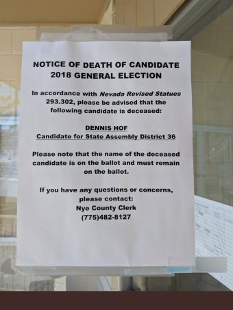 A piece of paper with a notice about a dead candidate|340x453
